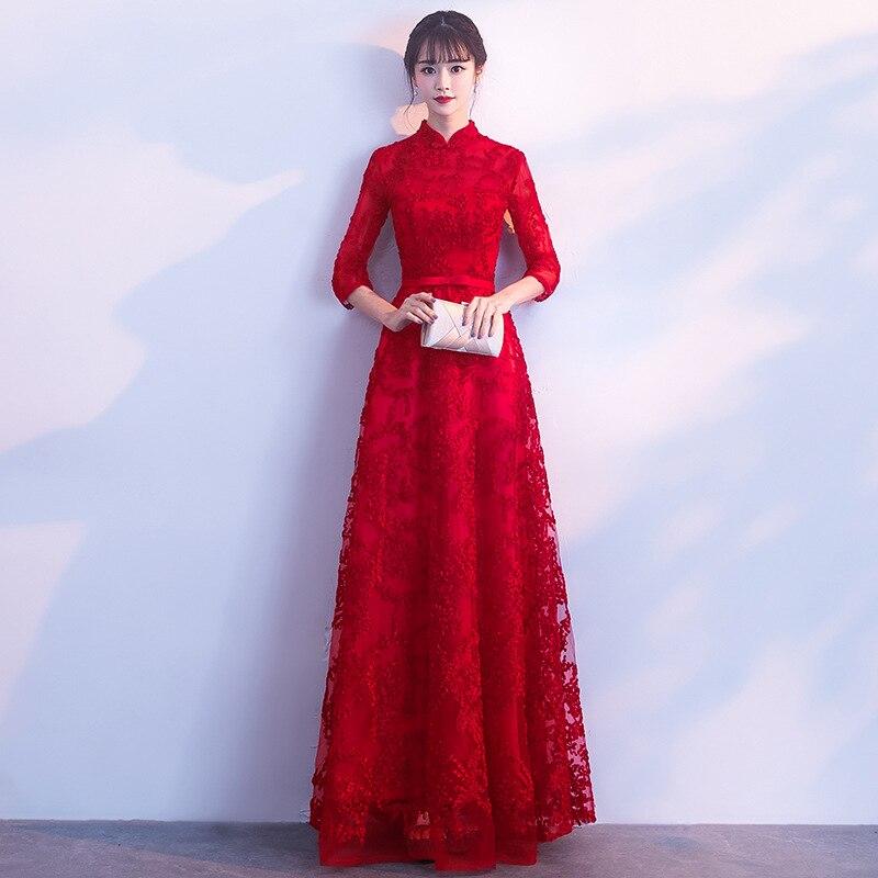 Robe De mariée chinoise rouge élégante manches 3/4 une ligne robes De soirée formelles Vestidos De Festa longueur De plancher robes De bal