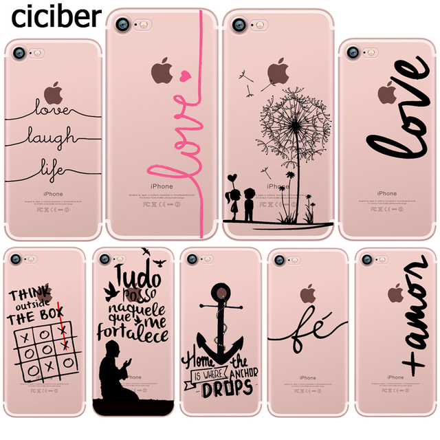 super popular 00653 a95ef US $1.77 29% OFF|Portuguese English French Words lOVE Design Silicone Clear  TPU Transparent Soft Phone Case for iphone 6s 7 6 plus se 5s 5 Fundas-in ...
