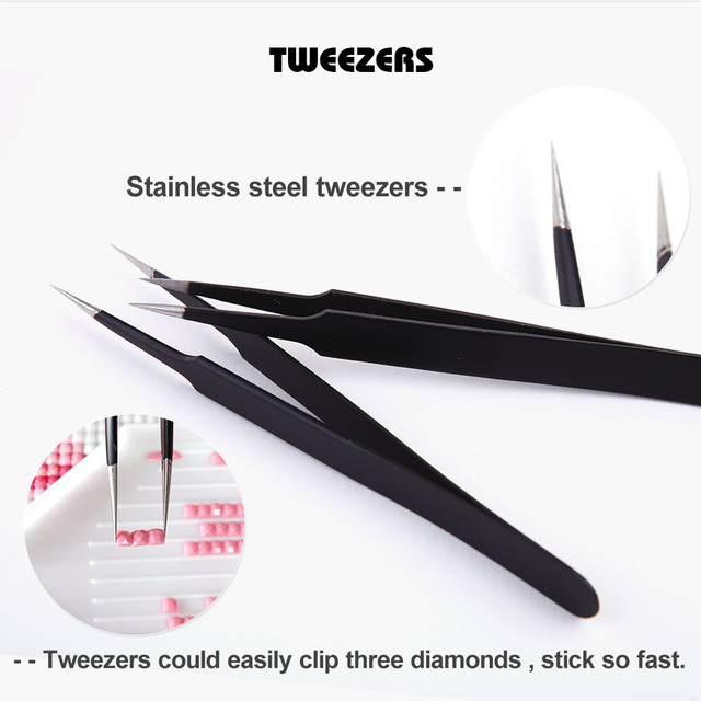 Diamond Painting Accessories Excellent Quality Tweezers Straight Stainless Steel Industrial Anti static Tweezers Sewing Tools