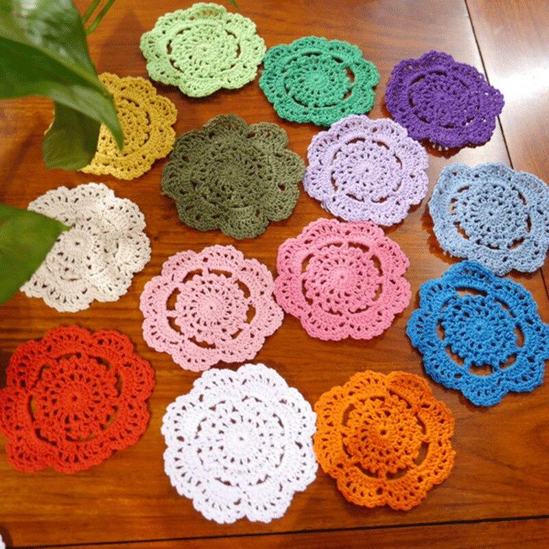 (6pcs/lot) Handmade hook flowers cotton lace / hollow round decorative mat coasters / cup pads / diameter 10CM