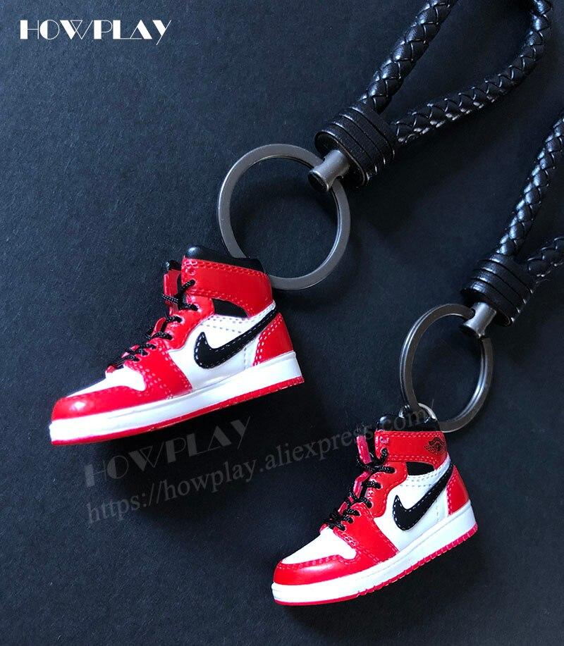 Howplay mini sneakers 3d jordan keychains basketball shoes model backpack pendant keyring creative gift toy for air jordan 1 fan