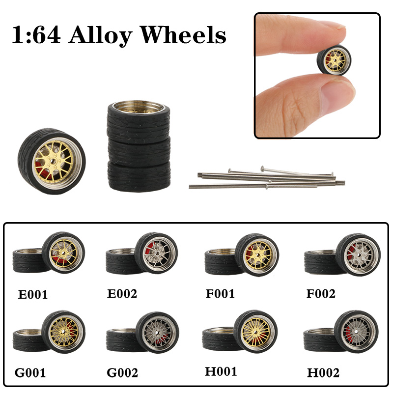 4pcs / Set 1:64 Alloy Wheels Toy Simulation Vehicle Tire Modified <font><b>Car</b></font> Refit Wheels For <font><b>Car</b></font> <font><b>Models</b></font> Toys For Adult Collection image