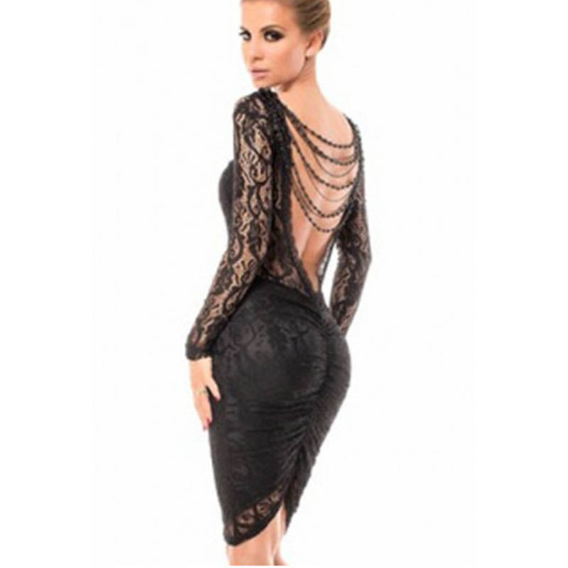 Wholesale Price Lace Bodycon Open Back Chain Midi Dress Black Lace Patchwork Long Sleeve Women Party Dresses Vestidos M-XL