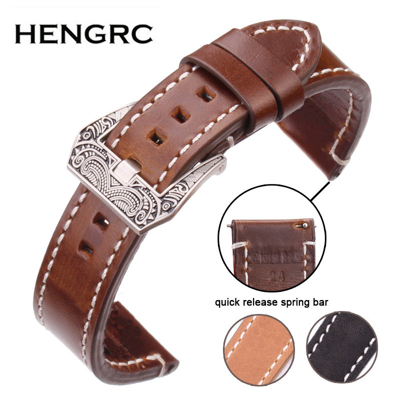 HENGRC Men Cowhide Genuine Leather Watchband 20 22 24mm Handmade Watch Band Strap With Stainless Steel Retro Buckle For PaneraiHENGRC Men Cowhide Genuine Leather Watchband 20 22 24mm Handmade Watch Band Strap With Stainless Steel Retro Buckle For Panerai