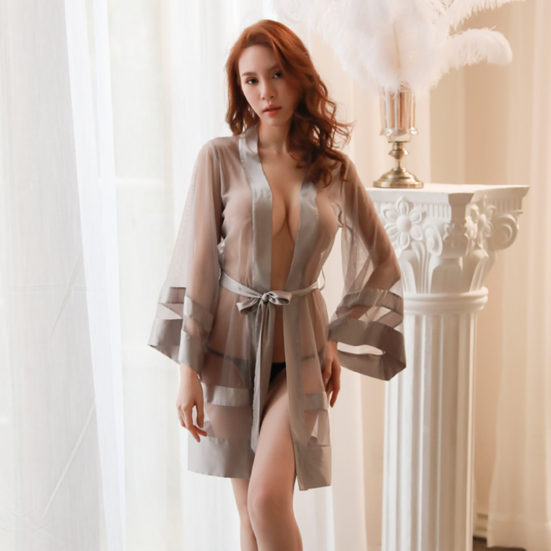 Sexy Temptation Woman Transparent Stitching Long-sleeved Bandage Gauze Robe Bathrobe Nightdress Pajamas Set Kimono Pajama