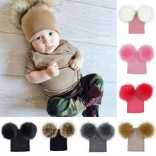 2017 Brand New Children Toddler Kids Baby Warm Winter Wool Knit Beanie Fur Pom Pom Bobble Hat Cap Winter Warm Hat 6M 5T-in Hats & Caps from Mother & Kids on Aliexpress.com | Alibaba Group
