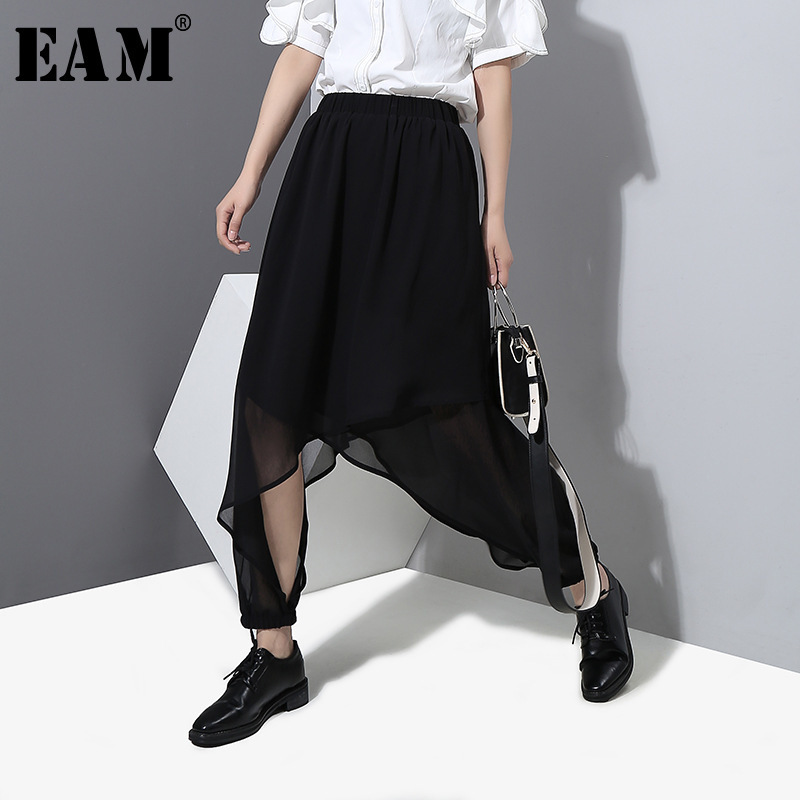 [EAM] 2018 Summer New Fashion Fashion Side Vent Loose Elastic Waist Black Irregular Womens Trousers Harem Pants YC38401