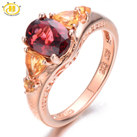 HUTANG 2 14ct Natural Garnet Citrine Solid 925 Sterling Silver Ring Oval Gemstone Fine Jewelry Women