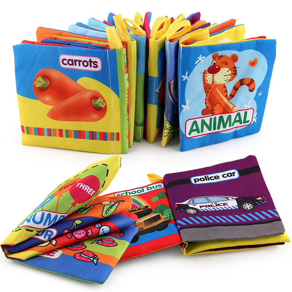 Baby Learning Education Soft Cloth Books Kids Intelligence Development Infant Early Learning Animal English Fabrics Book Toys