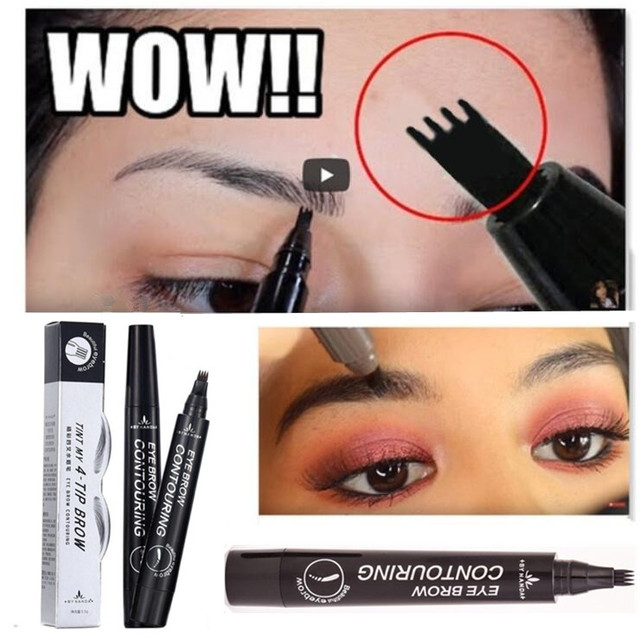 Women Makeup Brushes Tattoo Eyebrow Fine Sketch Waterproof Lock Color Shaper Makeup Tool Eyebrow Long Lasting Eyebrow Pencil