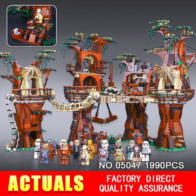 Бесплатная доставка 1990 шт. Лепин 05047 Star Wars Ewok Деревне Строительные Блоки Juguete para Construir Кирпичи Рождественский Подарок Игрушки 10236