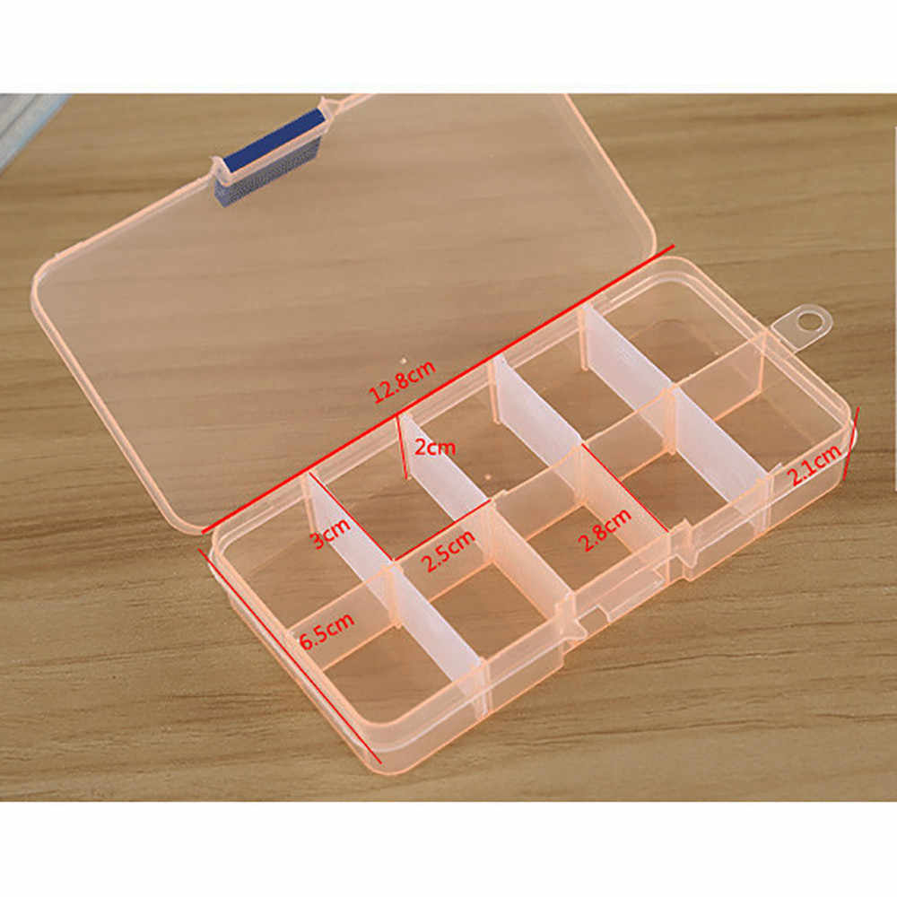 10 Grids Adjustable Jewelry Box Beads Pills Jewelry Storage Box Nail Art Tips Storage Box Case Small Carton Packing box