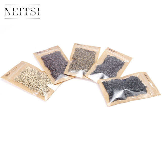Neisti Silicone Micro Ring Beads Hair Extension Tools Tubes For Feather Hair Extensions 1000pcs/bottle 5 Colors Available