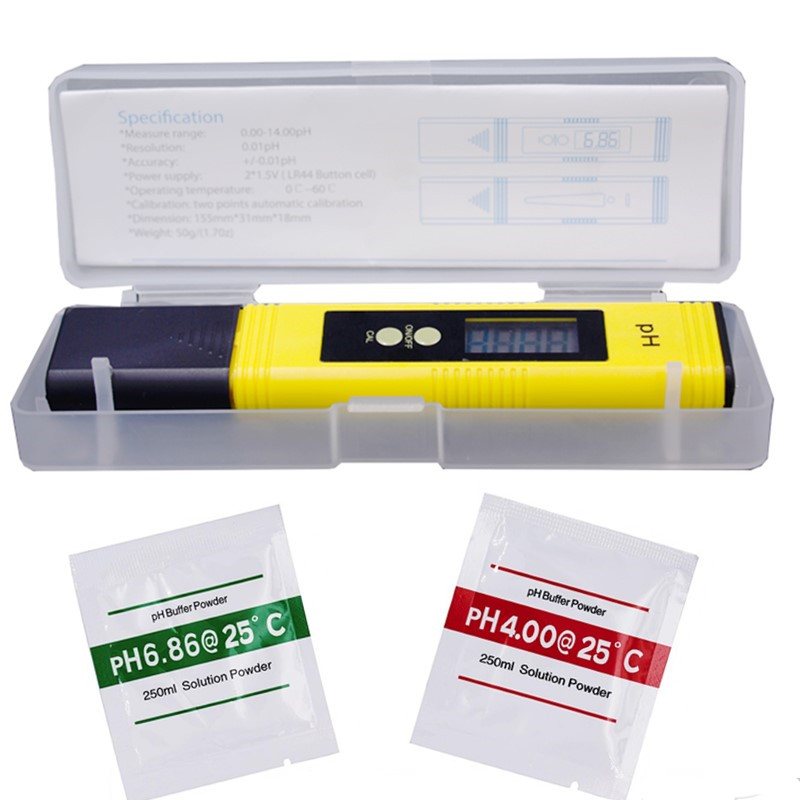 0,01 Digital medidor de PH probador para la calidad del agua y comida acuario piscina de cultivo hidropónico de tamaño de bolsillo medidor de PH pantalla LCD de gran tamaño 20%