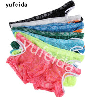 YUFEIDA 7PCS Sexy Men Boxer Shorts Transparent Pink Sunmmer Sissy Lace Boxers Hollowed Out Cueca Erotic Lingerie Underwear