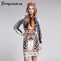 2018 Spring Vintage Women Set High Quality Black Striped Fashion Bow Floral Pattern Print T Shirt