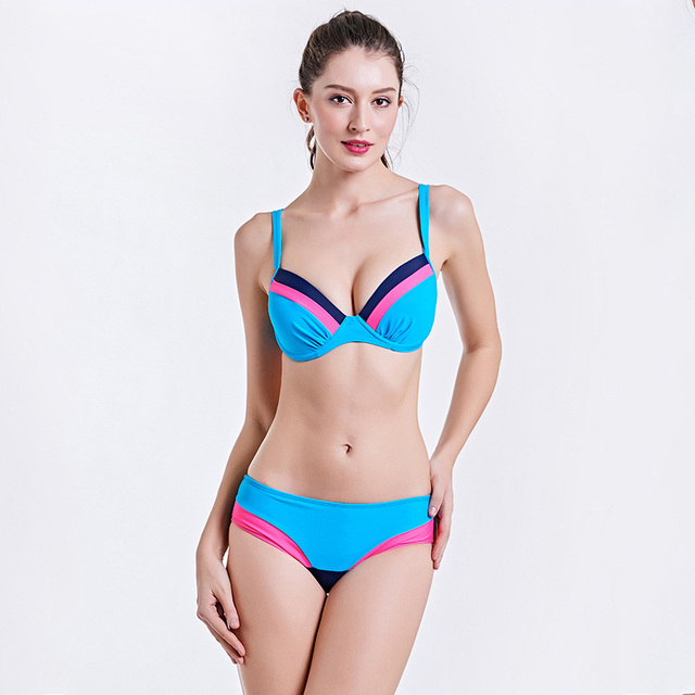 011dfe7c2d3658 Brand Summer Sexy Push Up Bikini Women Swimwear Retro Light Colors  Patchwork Swimsuit Hot Women Beach Wear Pool Bathing Suit