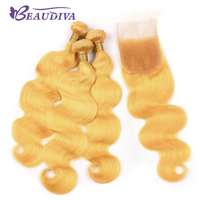 Beaudiva Hot Yellow Color Malaysian Body Wave 3 Bundles With Closure,Remy Hair Malaysian Human hair With Closure With Baby Hair