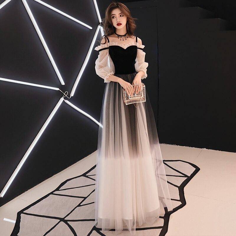 c18452804192273 YIDINGZS Спагетти ремень Серый вечернее платье велюр тюль вечерние  элегантные длинное платье