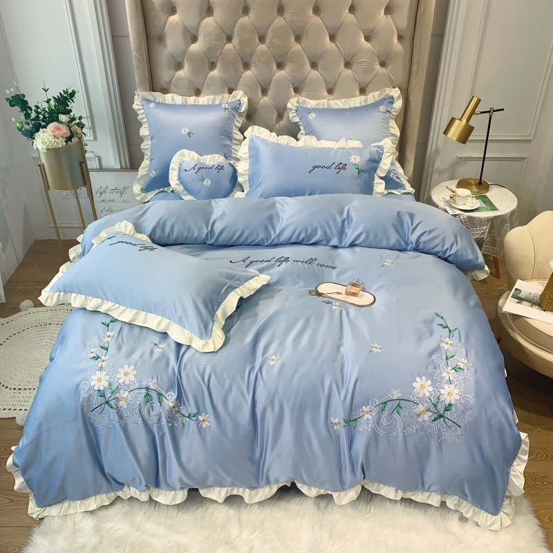Blue Pink Yellow Green Luxury Washed Silk Cotton Flowers Embroidery Princess Girl Bedding Set Duvet Cover Bed Sheet Pillowcases