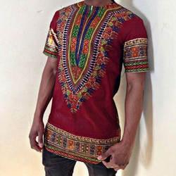 2019 африканская одежда Дашики костюмы Акция Ограниченная серия полиэстер для мужчин; короткий рукав Футболка с принтом в народном стиле