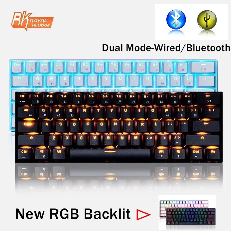 Royal Kludge RK61 Mini Portable 61 Key Dual-Mode Bluetooth Wireless/USB Wired Backlit Mechanical Keyboard RK Axis/Cherry Axis ducky one cherry mx red