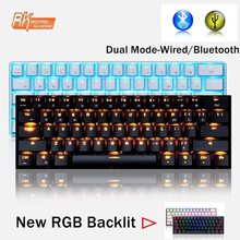 Kerajaan Kludge RK61 Mini Portabel 61 Kunci Ganda-Mode Bluetooth Nirkabel/USB Berkabel Backlit Mekanis Keyboard RK Sumbu /Ceri Sumbu(China)