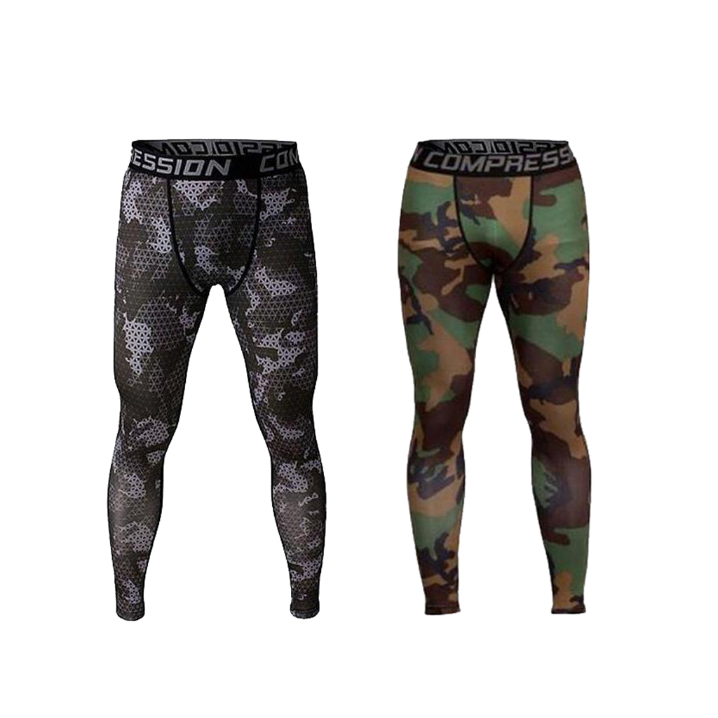 Set of 2 Pieces Fashion Men Camouflage Exercise Legging Running Tight Trousers Sports Running Compression Pants