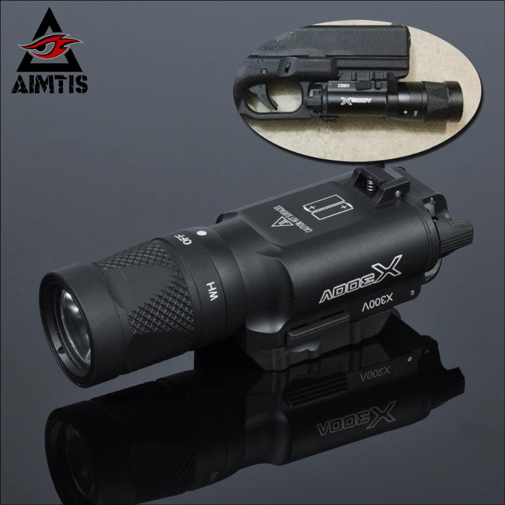 AIMTIS X300 X300V Flashlight Tactical Strobe Light Tac Handgun Scout Flashtorch Pistol Weapon Light Rail Mount AR Rifle