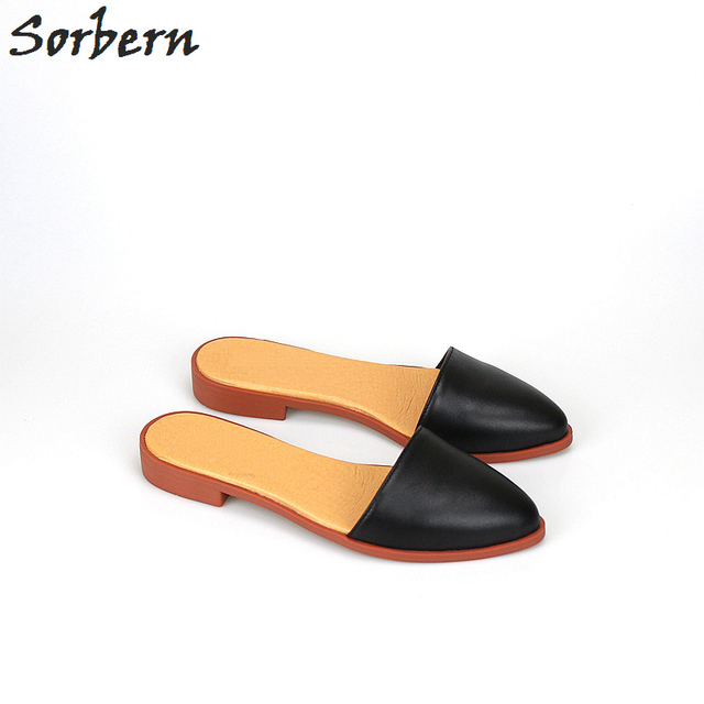 f2a672d91 Sorbern Fashion Genuine Leather Slippers Low Heels Pointed Toe Mules  Pigskin Flat Slippers Ladies Slip On Flat Shoes Women New