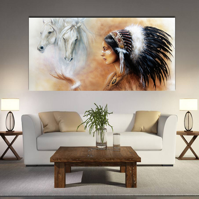 S L Size Indian Women White Horse Pattern Spray Oil Painting Wall Art Pictures For