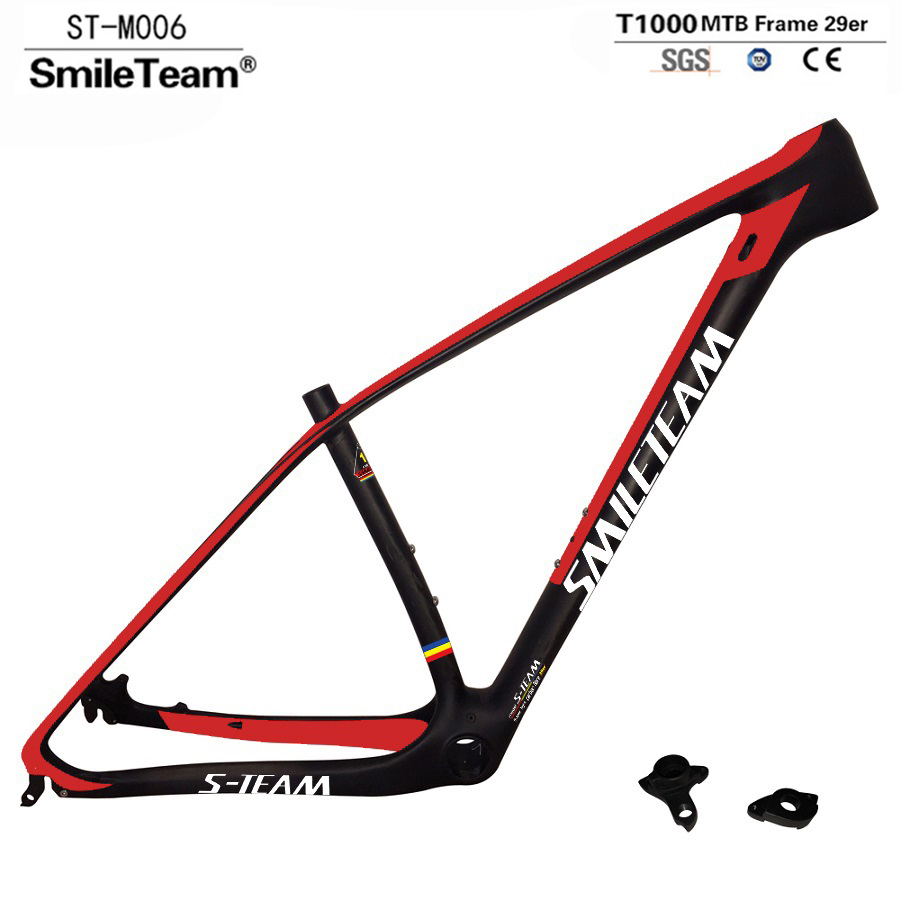 super light 29er 27 5er fat tire mountain bike new carbon frame through axle mtb frame SmileTeam 29er 27.5er Carbon MTB Frame 650B T1000 Full Carbon Mountain Bike Frame 142*12 Thru Axle or 135*9mm QR Bicycle Frame