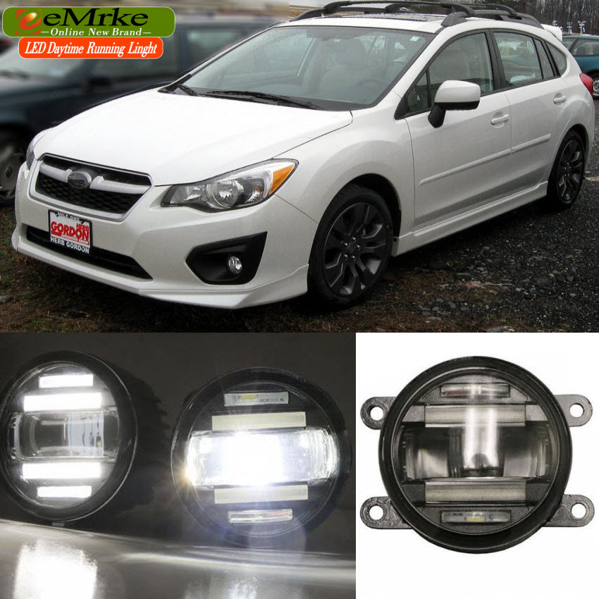 eeMrke Xenon White High Power 2in1 LED DRL Projector Fog Lamp With Lens For Subaru Impreza 2012 2013 eemrke xenon white high power 2 in 1 led drl projector fog lamp with lens daytime running lights for renault kangoo 2 2008 2015