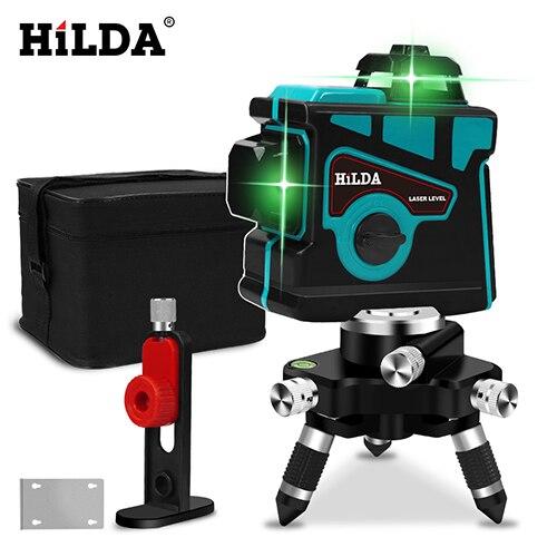 HILDA лазерный уровень 12 линий 3D уровень самонивелирующийся 360 горизонтальный и вертикальный крест супер мощный зеленый лазерный уровень - Цвет: SET3