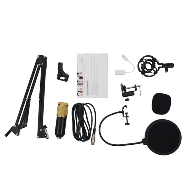 BM800 Condenser Microphone Kit karaoke microphone mikrofon Studio Suspension Boom Scissor Arm Sound Card microfone condenser Set купить в Москве 2019