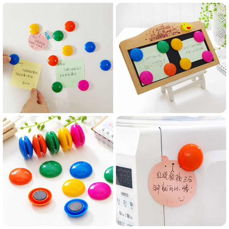 20pcs/lot Colors Round Shape Whiteboard Magnetic Clip White Board Buttom Refrigerator Fridge Magnetic Teacher School Use S18127