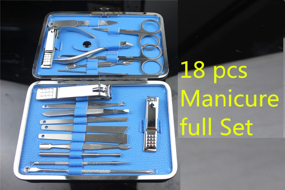 18pcs Portable Manicure full Set Pedicure Scissor Tweezer Knife Ear pick Utility Nail Clipper Kit Stainless steel Nail Care Tool 2016 new arrival 6pcs stainless steel nail clipper nipper cutter pedicure manicure tools set