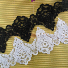 12CM delicate scallop edged organdy voile lace trim embroidered ribbon for saree