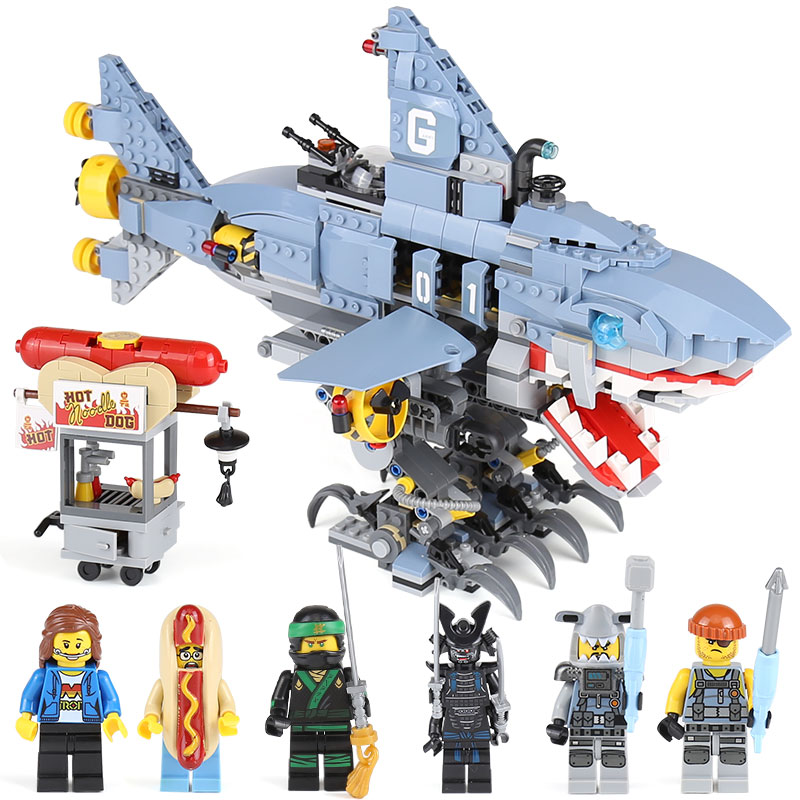 929Pcs Garmadon Set Big Shark Ninjago Movie Building Blocks Children Model Gift Toys Compatible With LegoINGlys NinjagoINGly building blocks super heroes back to the future doc brown and marty mcfly with skateboard wolverine toys for children gift kf197