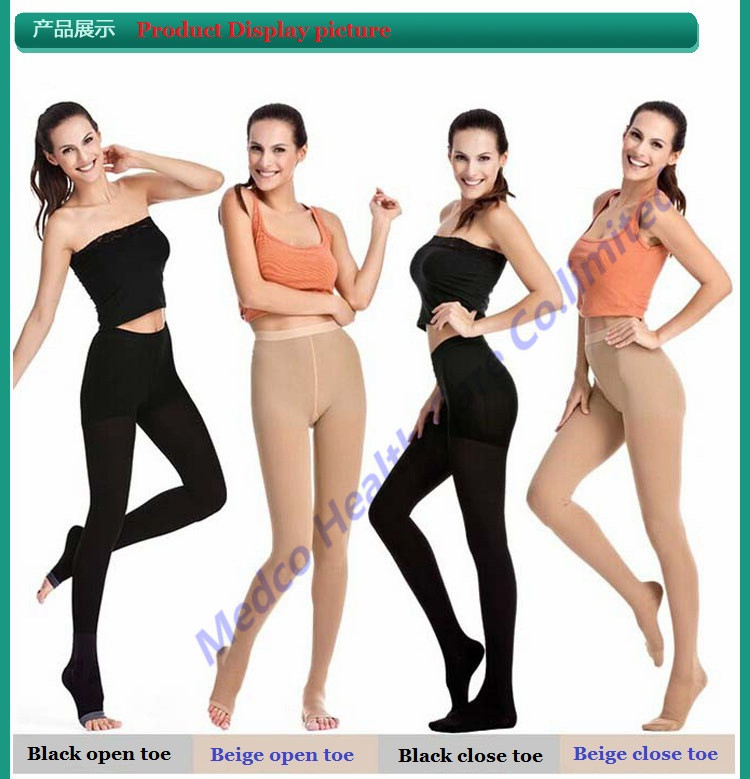 Free shipping Top quality 23-32mmHg medical compression pantyhose medical Varicose socks tights elastic stockings open/close toe pretty womens open toe sheer ultra thin tights pantyhose stockings leggings