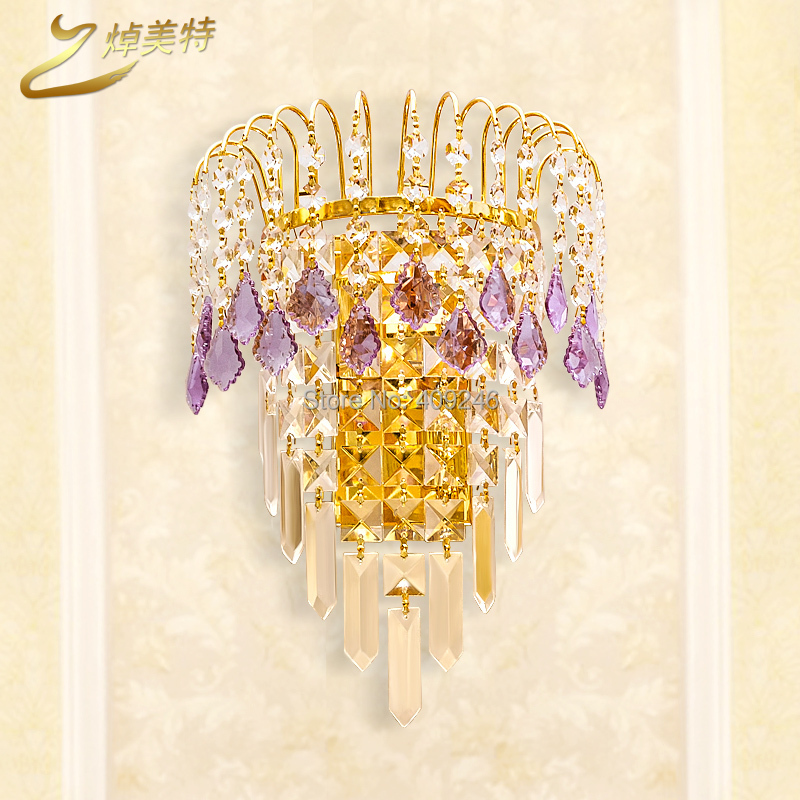 ФОТО Luxury A Grade K9 Purple Clear Crystal wall lamp Mirror light Gold