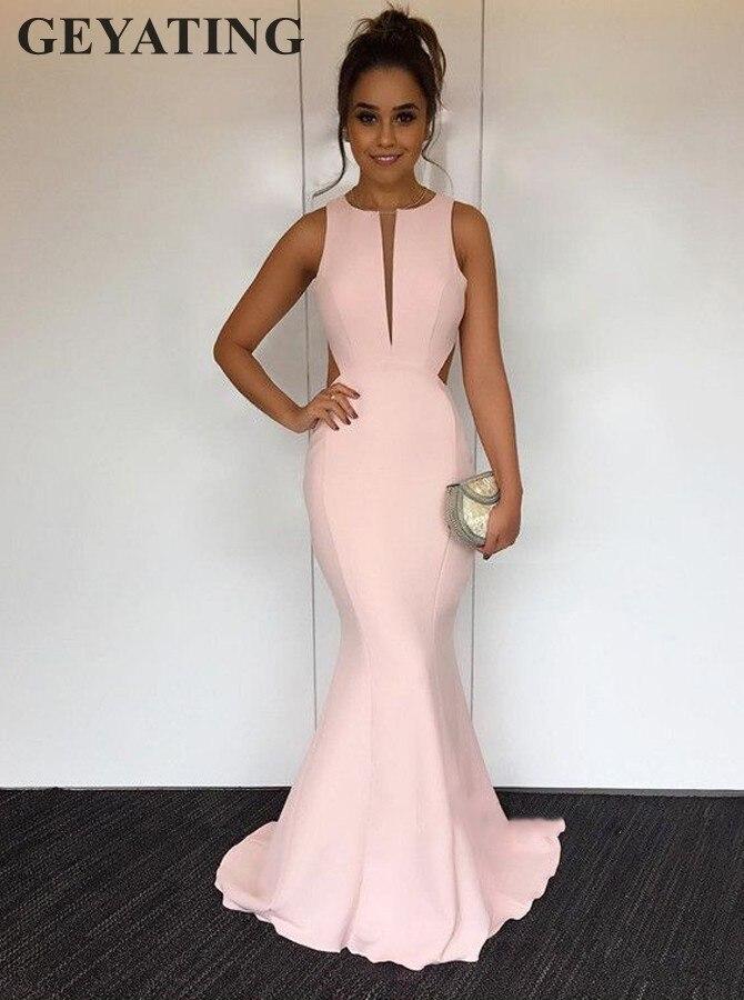 Simple rose sirène longue Satin robes de bal 2019 pas cher col en v dos ouvert robes de soirée élégantes femmes robe formelle spéciale