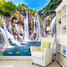 Beibehang Wallpaper Wall Murals Wall Stickers Landscape Waterfall Wooden  Bridge 3D Landscape Background Wall Background Paint Part 90