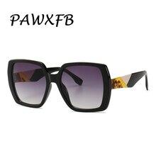 PAWXFB Brand 2019 New Italy Square Oversized Sunglasses Women Retro Female Sun Glasses modern model Shades 400UV