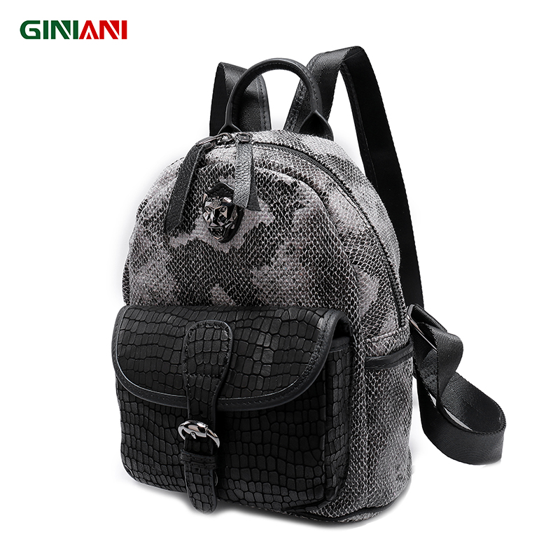 GINIANI Serpentine Material Tungsten Steel Tiger Head Female Rucksack Front Leather Solid Pocket Cutie Child School