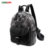 GINIANI Serpentine Material Tungsten Steel Tiger Head Female Rucksack Front Leather Solid Pocket Cutie Child School Bags
