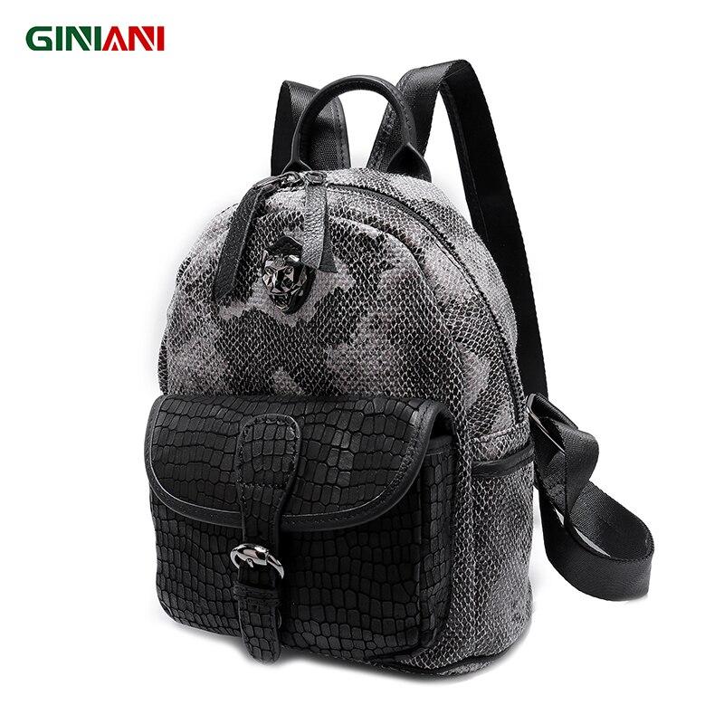 GINIANI Serpentine matériel tungstène acier tête de tigre femme sac à dos avant en cuir solide poche Cutie enfant sacs d'école