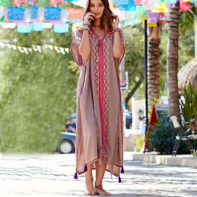 10a5d8bff1 Online Shop Women's maxi Tunic dress sexy embroidery Ruffles cloak sleeves  with slit boho chic moroccan Kaftan robes brand clothing | Aliexpress Mobile