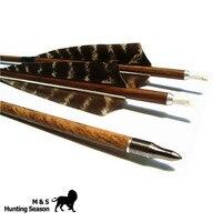 Bogenschießen Holz Körnig Carbonpfeile Shooting Broadheads Wirbelsäule 400/500/600 4