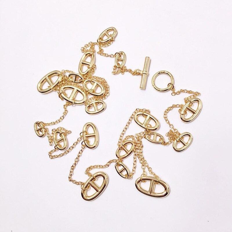 2019 new hot bijoux de cuivre de mode de porc nez Japonais mot long collier chaîne de chandail pour les femmes